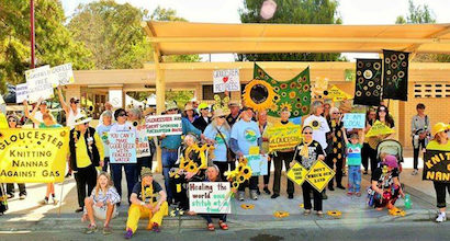 Photo of the Gloucester Knitting Nannas Against Gas participating in The Ground Beneath Our Hearts.