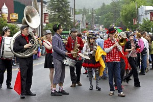 Photograph by Catskill photographer Michael Gadomski of the Hungry March Band performing in the 2011 Livingston Manor NY Trout Parade.