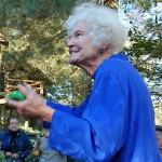 """Photo of Christine San Jose host of WJFF Radio's poetry show """"Along the Poet's Row"""" within its Farm and County program."""