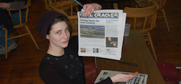 Photo of a young PA Coal Region journalist at an editorial meeting for Coal Cracker, a youth led journalism project that launched in 2013 as a newspaper with a social media presence and developing website where they practice content marketing.