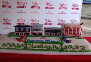 Photo of downtown Hawley, PA cake for Main Street Matters Banjamin Moore celebration.