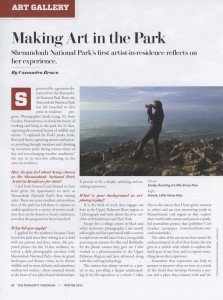 Download a PDF of the Piedmont Virginian article featuring an interview with Shenandoah National Park artist-in-residence, photographer Sandy Long.