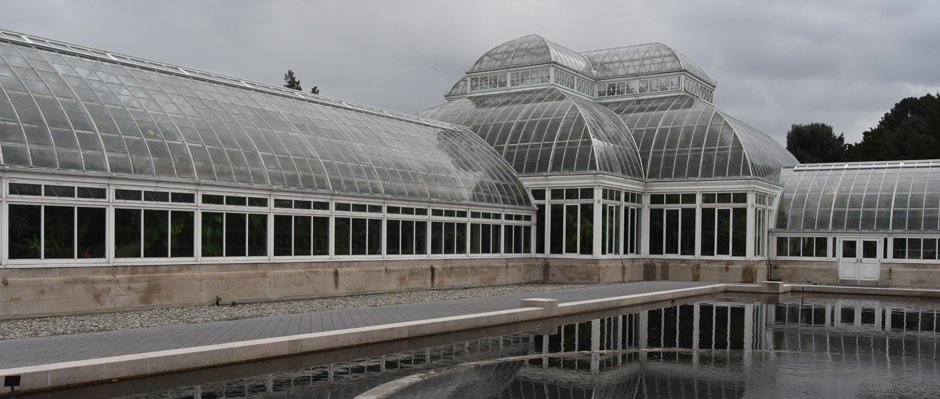 Photo of the Enid Haupt Conservatory at the New York Botanical Gardens by Sandy Long.